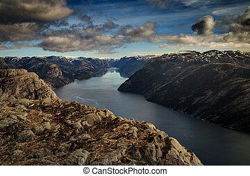 View from Preikestolen Lysefjorden, Stavanger, Norway