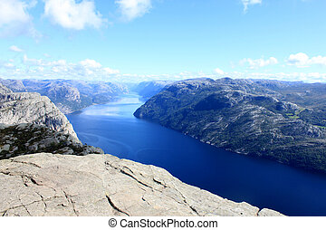 View from Preikestolen pulpit rock, Lysefjord in the background, Rogaland county, Norway