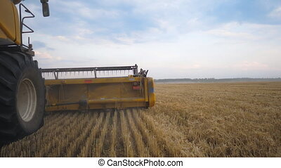 View from right side of combine working in grain field....