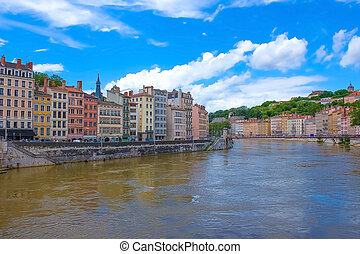 The view from river Sona to the bridge and Lyon city, France