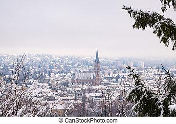 View from Schlossberg in Graz to Herz-Jesu-Church in winter...