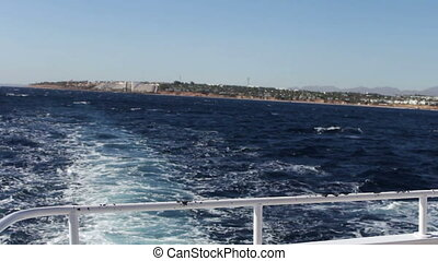 view from sea boat on coast