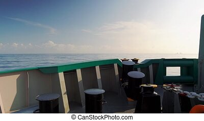 View from ship ship deck to open sea. vessel is sailing....