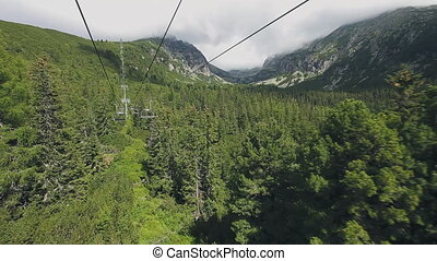 Ski-lift cable car leading to Predne Solisko peak of Tatra mountains, Slovakia. Beautiful summer landscape with mountain range and green forest. Sport lifestyle, holidays, travel, recreation. Full HD