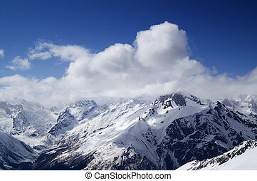 Mountains, Caucasus, Dombay - View from ski slope. Mountains...