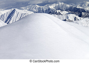View from ski slopes. Caucasus Mountains, Georgia, ski...