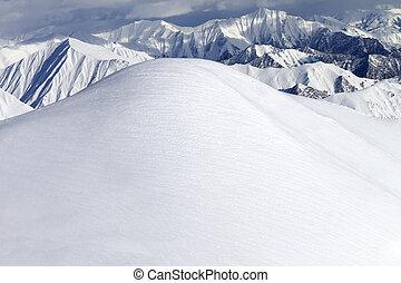View from ski slopes. Caucasus Mountains, Georgia, ski resort Gudauri.