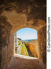 View from small loophole on the La Mola fortress the...