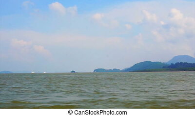 view from speed boat sailing through ocean sea