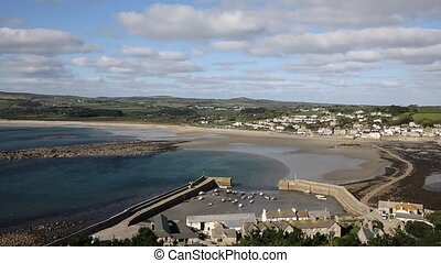 View from St Michaels Mount of Marazion Cornwall England...