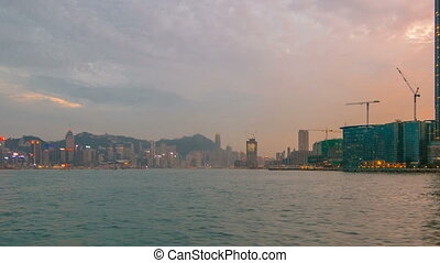 View from Star Ferry through Victoria Harbour timelapse hyperlapse, with the skyline of Hong Kong as backdrop