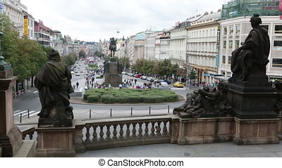 View from steps of the national museum on Wenceslas Square Vaclavske namesti in Prague, Czech Republic