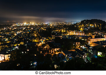 View from Tank Hill Park on a foggy night, in San Francisco, California.