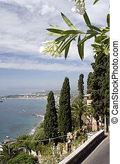 taormina italy - view from taormina italy sicily above...