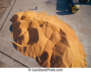 View from the Air Above the Grain Warehouse. Harvesting Corn.