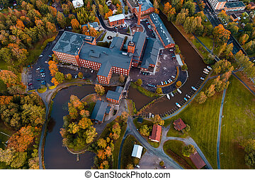 View from the air of the old spinning mill of Forssa, Finland