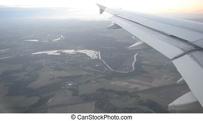 View from the airplane window to the vicinities of Paris...