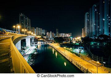 View from the Ap Lei Chau Bridge at night, in Hong Kong, Hong Kong.