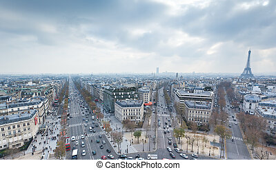 view from the Arc de Triumph across Paris France