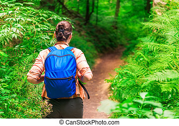 view from the back of a woman hiking in a summer forest
