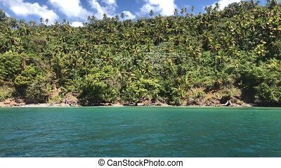 View from the big boat on the Samana Peninsula in the Dominican Republic