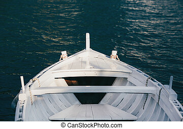 View from the bow of a wooden boat
