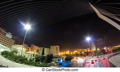 View from the bridge by Santiago Calatrava timelapse hyperlapse at the entrance to Jerusalem