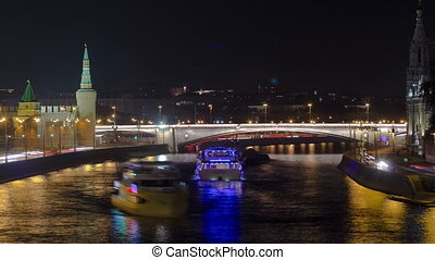 View from the bridge on Moscow Kremlin andthe embankment of the Moscow river timelapse