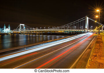 view from the Buda side of the Elisabeth Bridge in Budapest at night