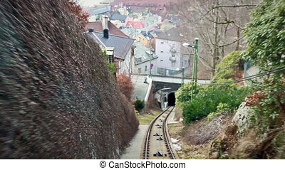 View from the cabin funicular.  Floibanen, Bergen, Norway