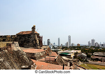 View from the Castle to the City of Cartagena