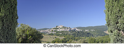 View from the characteristic Italian medieval village on the hill. Umbria, Amelia panorama