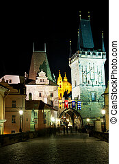 View from the Charles Bridge at Mala Strana in prague, Czech...