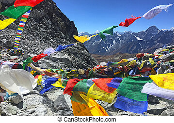 View from the Cho La pass, on the way from Gokyo lakes to Everest Base Camp, Nepal