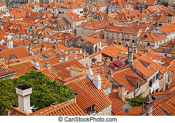 view from the City Walls to the red roofs in the Old town of Dub