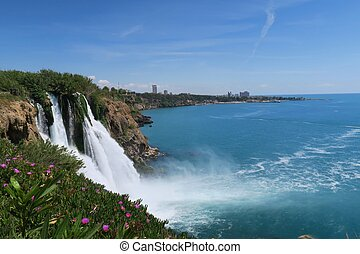 View from the Cliffs of Antalya at the Ocean and Duden...
