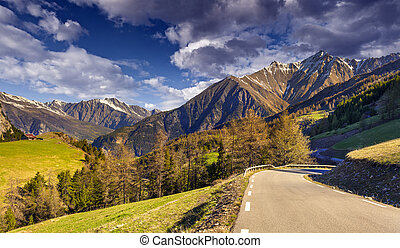View from the Col d'Isoard Pass, Alps, France.
