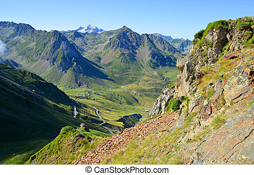 View from the Col du Tourmalet in Pyrenees mountains....