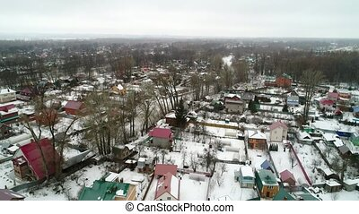 view from the copter of the village in winter