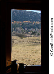 view from the country cottage on an autumn landscape