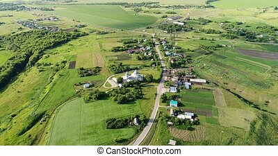 View from the drone to village and the church, Russia - view...