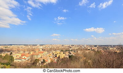 View from the Gianicolo Hill. Zoom. Italy. Time Lapse