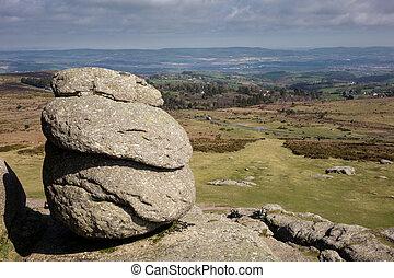 View from the granite slopes of Haytor Rocks - Haytor or Hay...