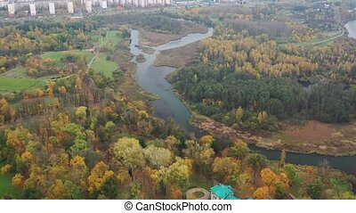 View from the height of the autumn loshitsky Park in Minsk ...