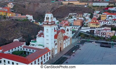 Aerial view of the Basilica and townscape in Candelaria near the capital of the island - Santa Cruz de Tenerife on the Atlantic coast. Tenerife, Canary Islands, Spain