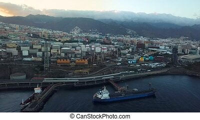 View from the height of the city Santa Cruz de Tenerife on the Atlantic coast. Tenerife, Canary Islands, Spain