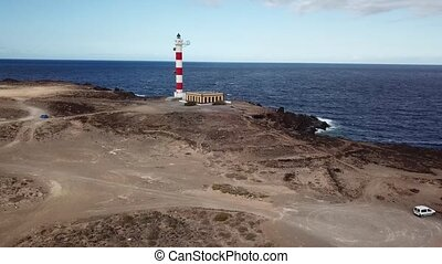 View from the height of the lighthouse Faro de Rasca on Tenerife, Canary Islands, Spain. Wild Coast of the Atlantic Ocean
