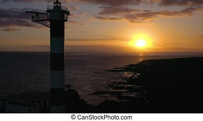 View from the height of the lighthouse silhouette Faro de...