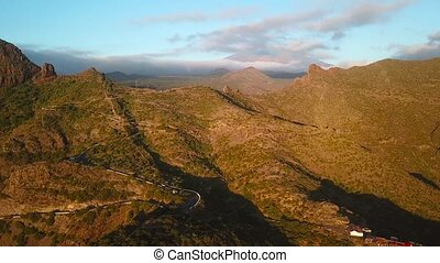 View from the height of the rocks in the Masca at sunset, Tenerife, Canary Islands, Spain.