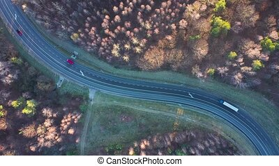 View from the height of the traffic on the road surrounded by autumn forest